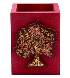 Maroon Recycle And Sheesham Wood Tree Of Life Pen Stands & Holder