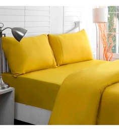 Maspar Yellows Solids Cotton Bed Sheets - Set Of 3