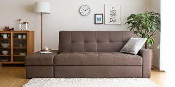 maceio storage sofa cum bed with ottoman in brown colour