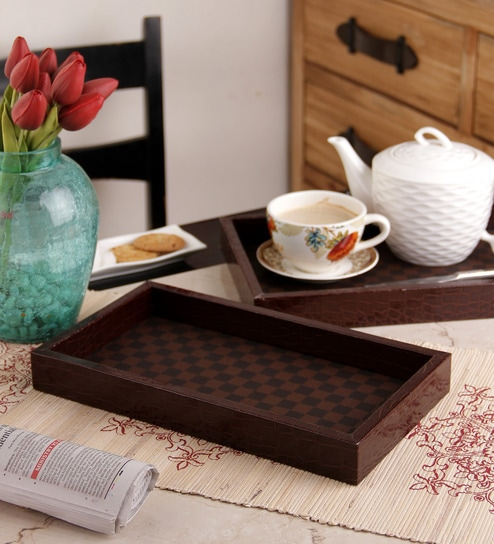 Machi Checkered Black and Brown Melamine Serving Tray - Set Of 3