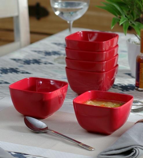 Machi Nosh Red Melamine 300 ML Soup Bowl - Set Of 6