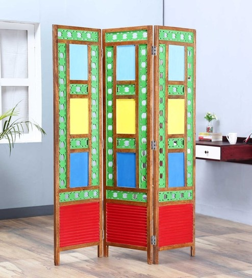 multicolour mango wood room divider by satyam