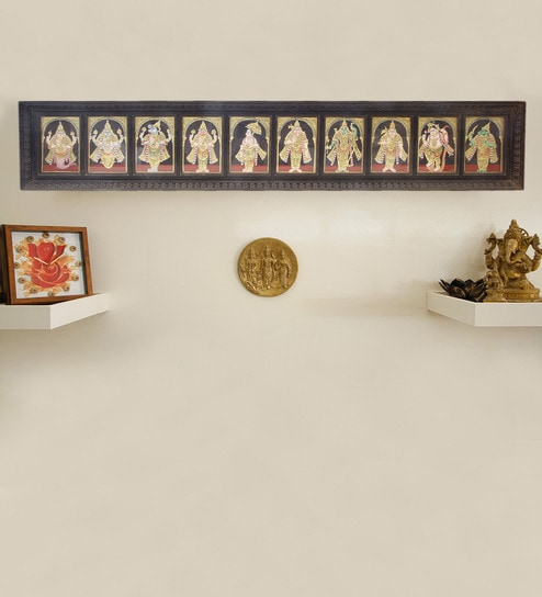 Buy Madhurya Multicolour Gold Plated Dashavatara Framed Tanjore ...