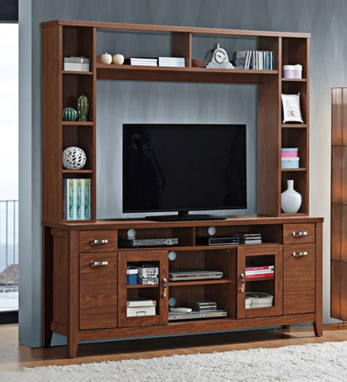 Madison Wall Tv Unit In Dark Brown Finish By Evok