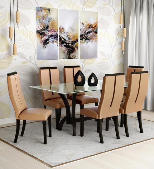 Madrid Six Seater Dining Set With Glass Top High Back Chairs In Beige Brown