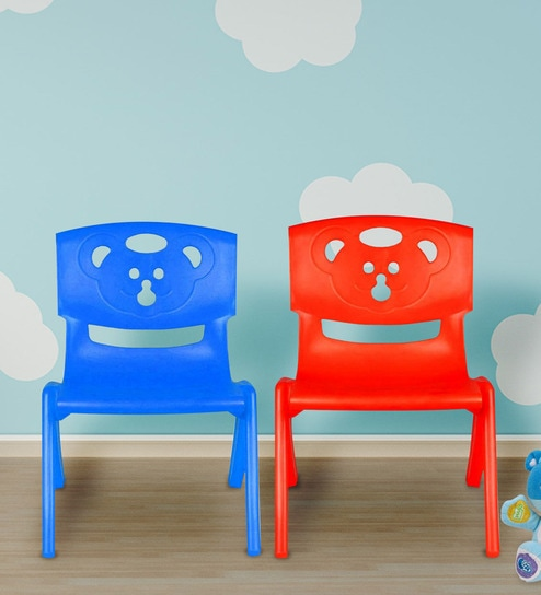 buy magic bear chair set of 2 in blue red color by sunbaby rh pepperfry com