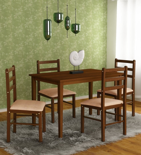 Buy Magix Four Seater Dining Set In Dark Walnut Finish By Hometown