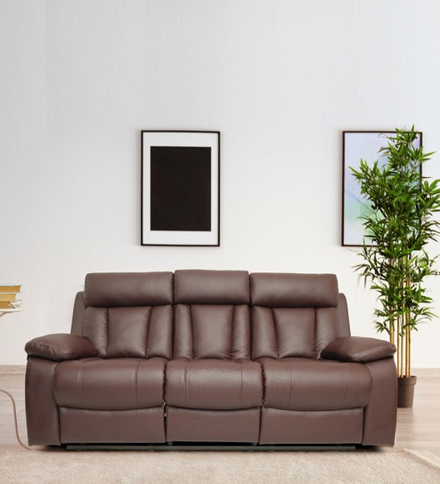 Magna 3 Seater Recliner In Brown Pvc