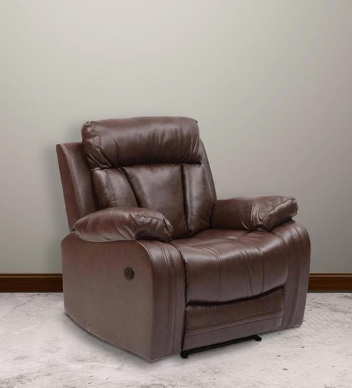 Merveilleux Magna One Seater Manual Recliner Sofa In Dark Brown Leatherette By Evok