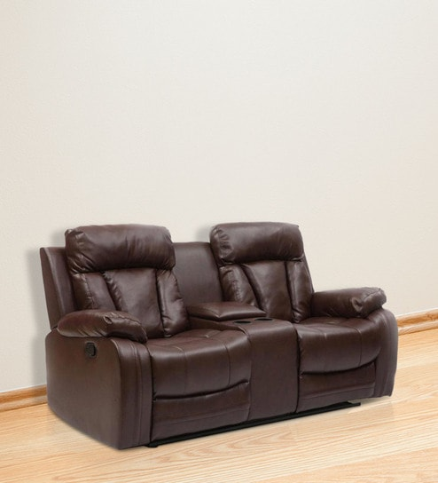 Magna Two Seater Recliner Sofa In Dark Brown Leatherette By Evok