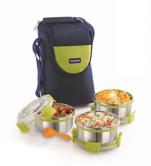 Magnus Lunch Box With Clip Lock & Bag + 1 Scoop Free Blue Stainless Steel & Plastic - Set Of 7