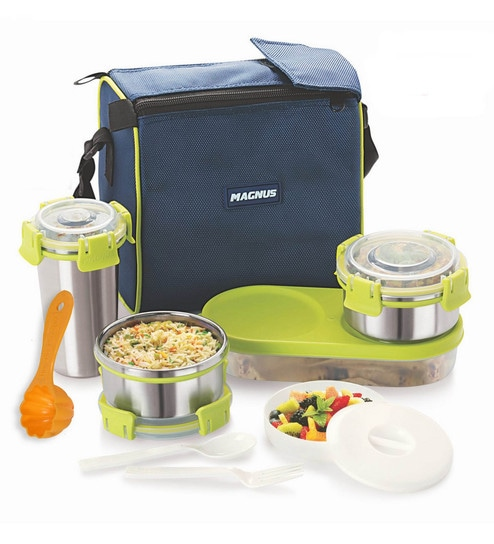 Magnus Lunch Box With Clip Lock & Bag Blue Stainless Steel & Plastic - Set Of 7