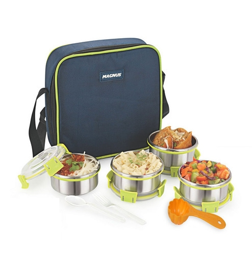Magnus Lunch Box With Clip Lock & Bag Blue Stainless Steel & Plastic - Set Of 7 - 1635565