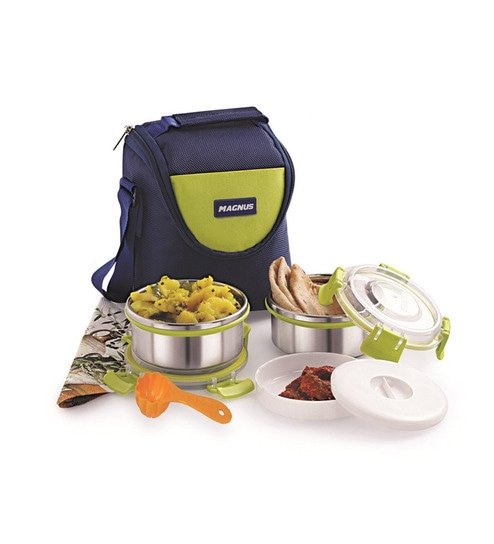 Magnus Lunch Box With Clip Lock & Bag Blue Steel Stainless Steel & Plastic - Set Of 6 - 1635561