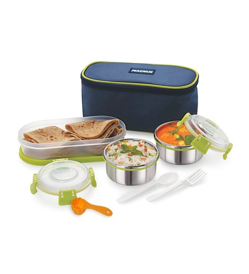 Magnus Lunch Box With Clip Lock & Bag Blue Steel Stainless Steel & Plastic - Set Of 6