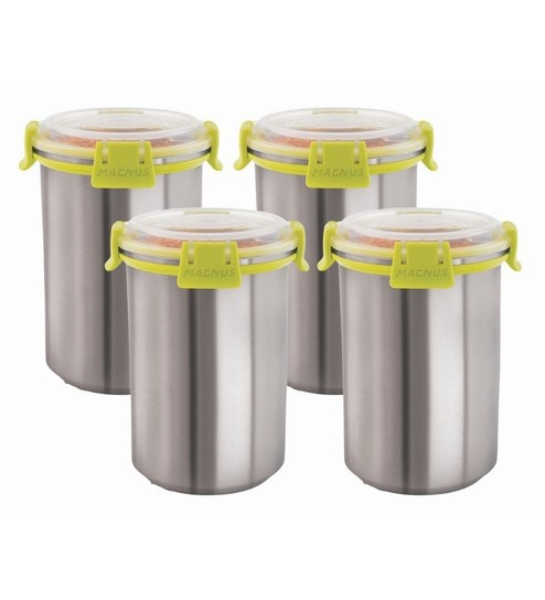Magnus Stainless Steel Airtight & Leak Proof 1.2 L Containers - Set of 4