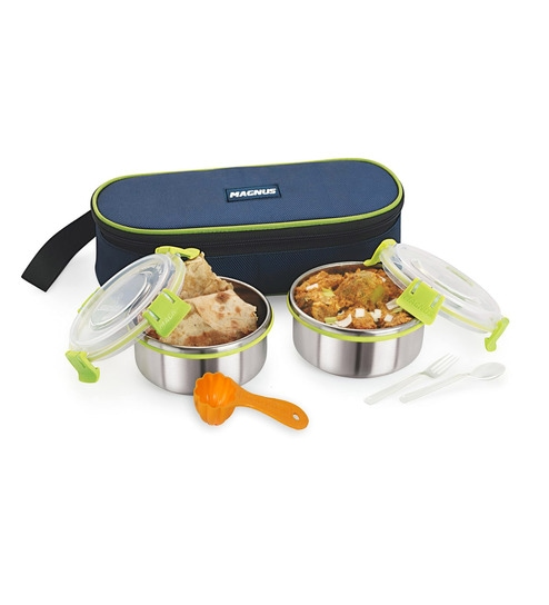 Magnus With Clip Lock & Bag Steel Stainless Steel & Plastic Lunch Box - Set Of 2