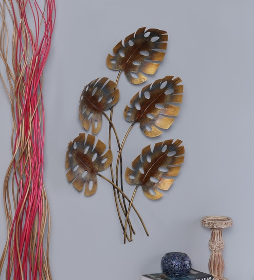 Multicolour Metal Leaf Wall Hanging By Malik Design