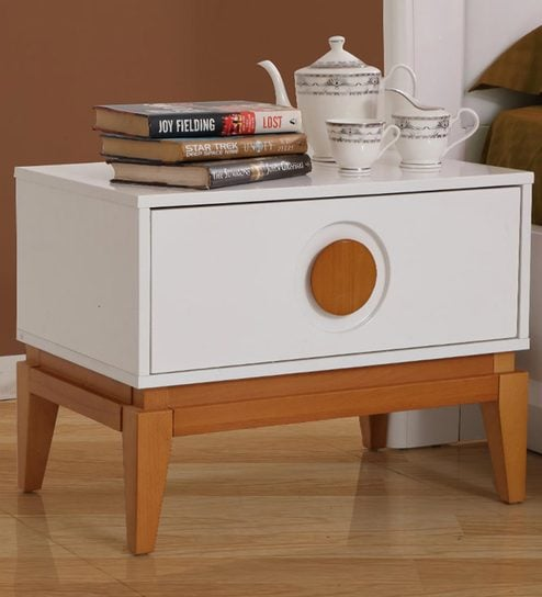 buy malta bedside table in white brown finish by evok online