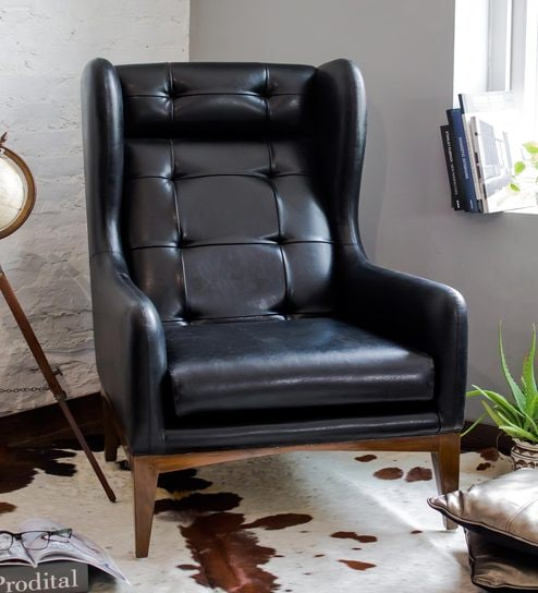 manhattan high back wing chair in black colour by studio ochre