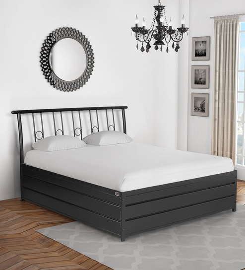 Buy Manila Metallic King Size Bed in Black Colour with Hydraulic ...