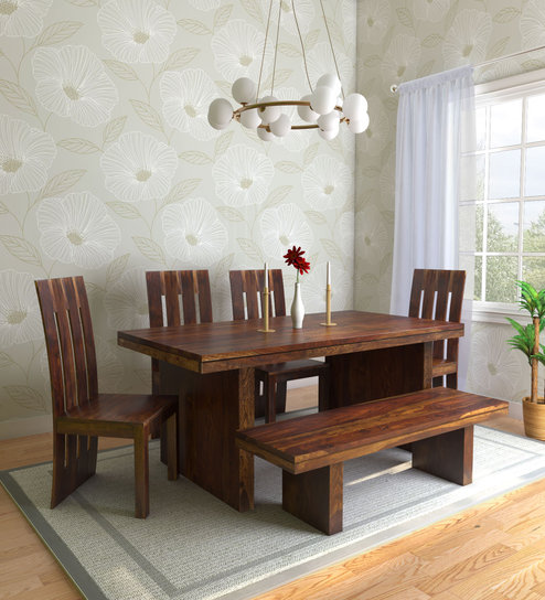 Excellent Manlo Solid Wood 6 Seater Dining Set With Bench In Provincial Teak Finish By Woodsworth Onthecornerstone Fun Painted Chair Ideas Images Onthecornerstoneorg