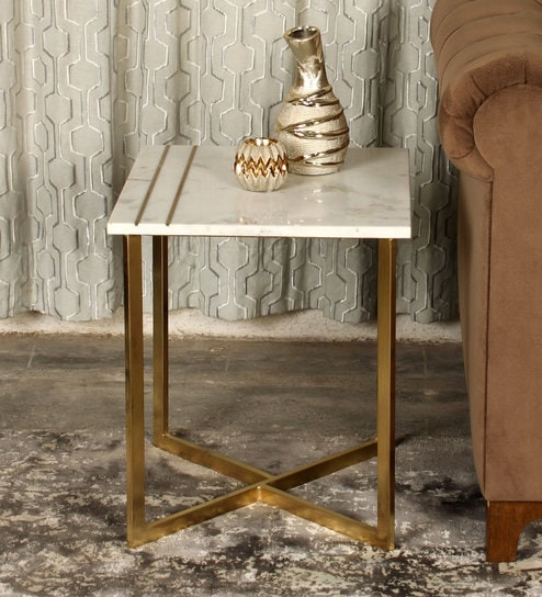 b2a50b6112e428 Buy Marble Top Side Table In White & Gold Colour By Minthomez Online ...