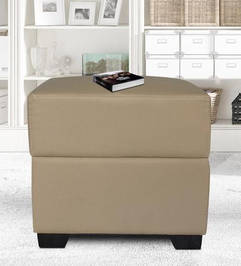 Buy Marco Pouffe in Light Beige Leatherette by Muebles Casa Online ...