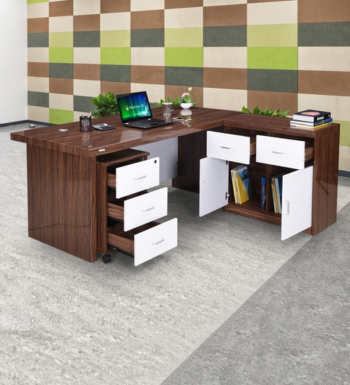 Miraculous Moriza Boss Table In High Gloss Walnut Finish With Drawers By Royaloak Interior Design Ideas Philsoteloinfo
