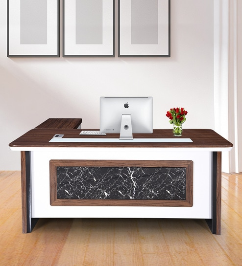 Margaret Boss Table In High Gloss Marble Finish With Mobile Pedestal Drawers By Royaloak