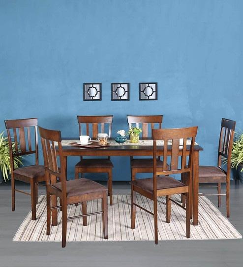 Mariko Six Seater Dining Set in Walnut Finish by Mintwud