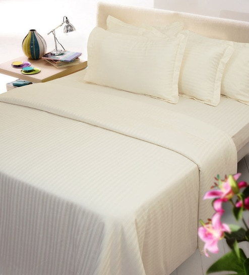 Solid 300TC Cotton Fitted Bed Sheet With 2 Pillow Covers By Mark Home