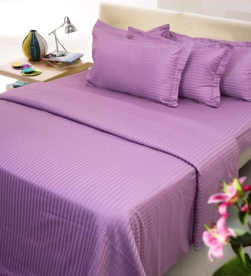 Purple Cotton Queen Size Fitted Bed Sheet   Set Of 3 By Mark Home
