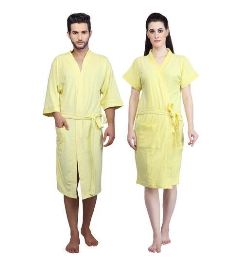 3c40464d32ee Buy Yellow Terry Cotton Bath Robe - Set of 2 by Mark Home Online - Bath  Robes - Bath Robes - Carpets   Furnishing - Pepperfry Product
