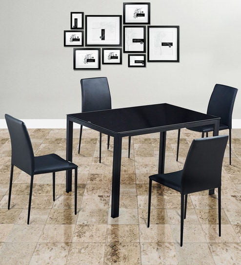 Marko 4 Seater Dining Set in Black Colour by HomeTown
