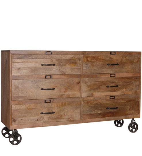 Markus Solid Wood Chest Of Drawers In Natural Mango Finish By Bohemiana