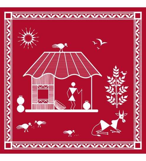 Buy Maroon White Cotton Canvas Warli Tribal Art Print By Wall Decor Model No Wta 28 Online Warli Art Ethnic Art Home Decor Pepperfry Product