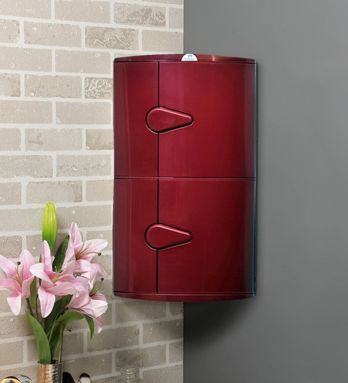 Buy Plastic Maroon 2 Compartment Bathroom Cabinet L 23