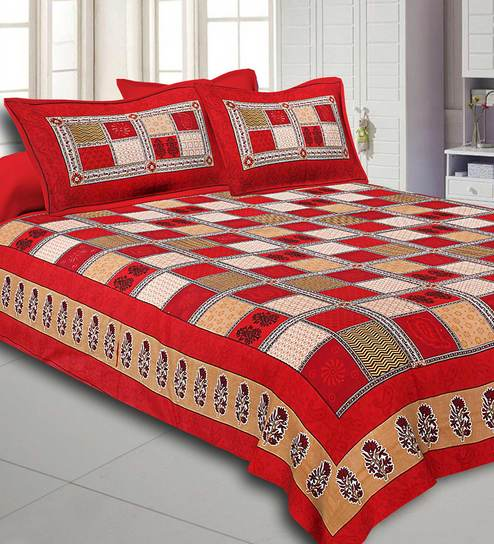 Indian Jaipur Beautiful Color Pure Cotton King New Bed Sheet Two Pillow Covers