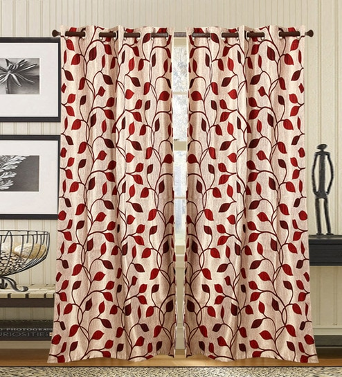 Maroon Leafy Prints Door Curtains By Jay Fabrics Set Of 2 7 Ft