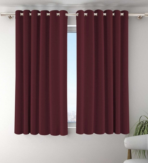 Solid Polyester 5 Feet Window Curtain Set of 2 by Vista Home Fashion & Buy Maroon Polyester Window Curtains - Set of 2 by Vista Home ...