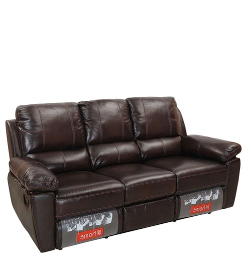 Marshall Three Seater Sofa With 2 Recliners In Russet Brown Colour By Home