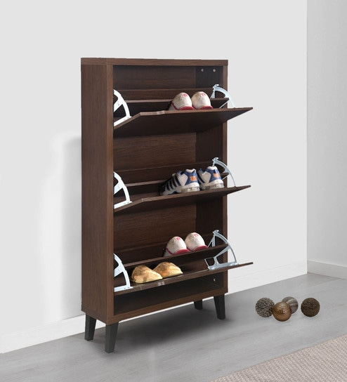 Martin 3 Tier Shoe Cabinet in Walnut Finish by @home & Buy Martin 3 Tier Shoe Cabinet in Walnut Finish by @home Online ...
