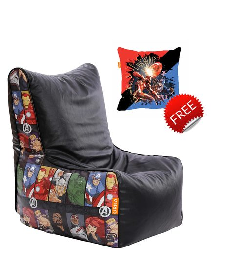 Peachy Marvel Avengers Kids Bean Bag With Beans In Multicolour By Orka With Small Cushion Inside Gmtry Best Dining Table And Chair Ideas Images Gmtryco