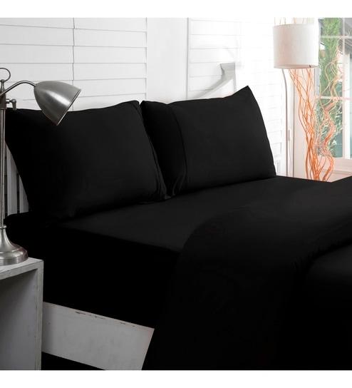 Black Cotton Single Bed Sheet Set Of 3 By Maspar