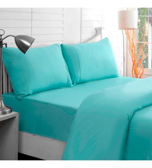 Teal Cotton Solid 108 X 90 Inch Double Bed Sheet (with Pillow Covers) By