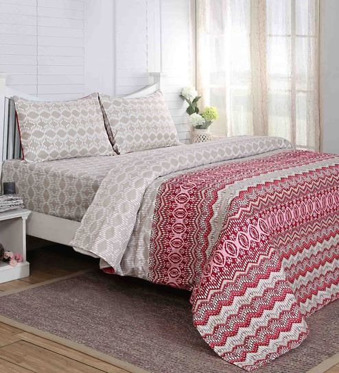 Carnival Prime Abstract Pattern 210TC Cotton Single Bed Sheet With 1 Pillow  Cover By Maspar