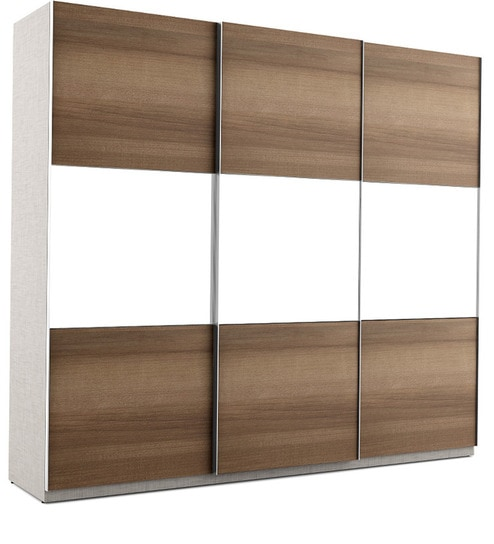 Max Three Door Sliding Wardrobe In Tropical Teak Finish By Ewood