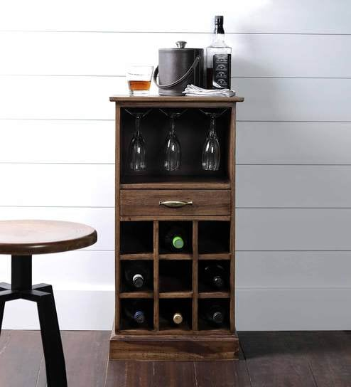 Maxim Mini Bar Cabinet In Natural Sheesham Wood Finish By Asian Arts