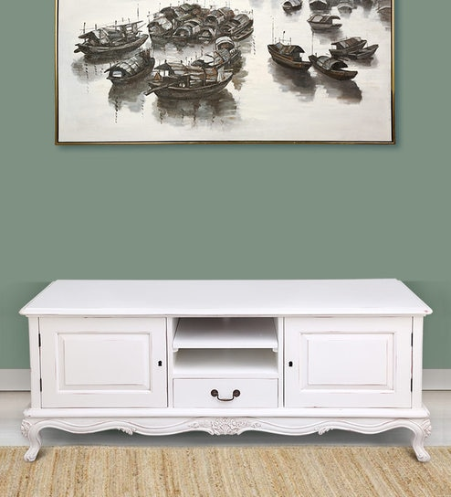 timeless design bd75a bab60 Maybelle TV Unit in White Painted Distress by Stories